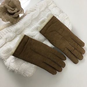 Faux brown suede shearling lined gloves 7.5